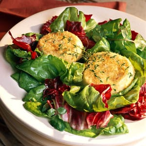 baby greens baked goat cheese salad
