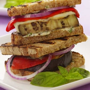 Grilled Eggplant with Basil Goat Cheese Recipe