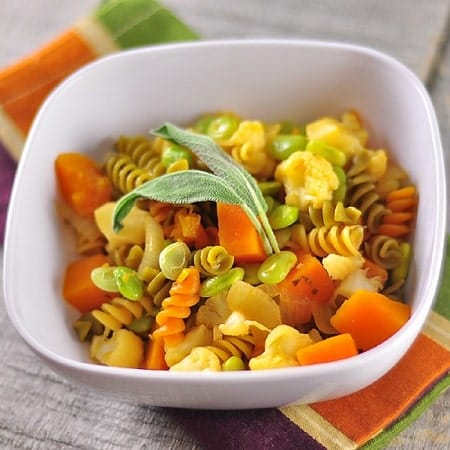 sage butter winter vegetables and pasta