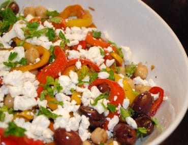 mediterranean peppers and olives salad