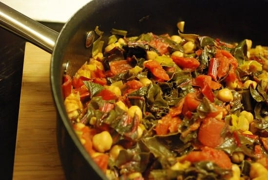 swiss chard and garbanzo beans