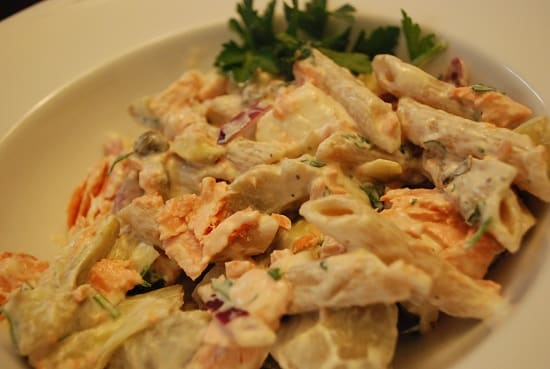 Poached Salmon Pasta Salad Recipe