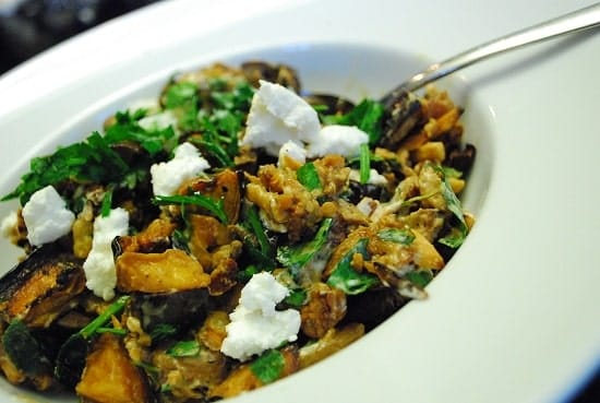 roasted eggplant and goat cheese salad