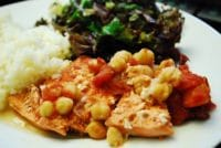 sauteed salmon with tomatoes chickpeas