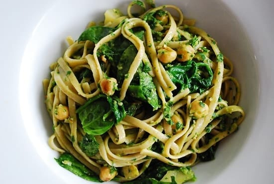 Lemon Spinach Chickpea Pasta with Parsley Pesto