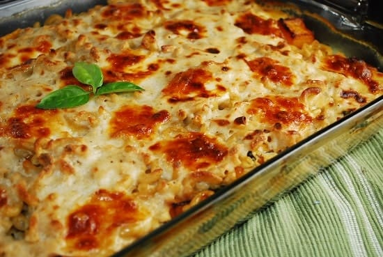 butternut squash and spinach pasta casserole