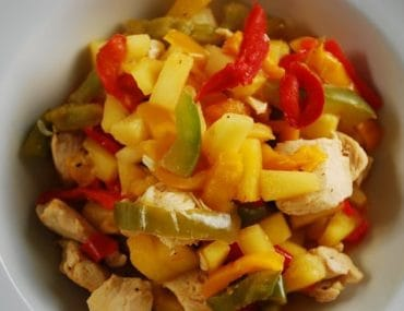pineapple chicken stir fry with bell peppers