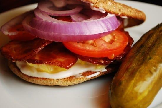 light bacon and egg breakfast sandwich
