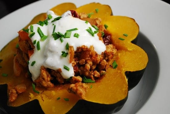 Spicy Ground Pork Stuffed Acorn Squash
