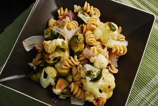 Roasted Brussel Sprouts and Cauliflower Pasta