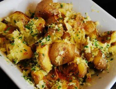 parmesan lemon smashed potatoes