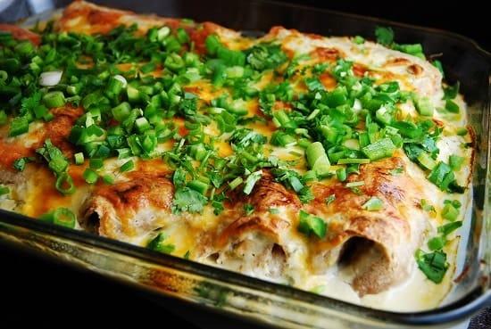white chicken and cheese enchiladas