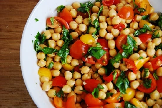 Chickpea Tomato and Basil Salad