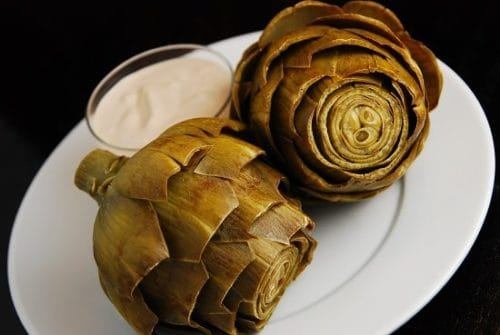 Steamed Artichokes with Balsamic Mayo Dipping Sauce