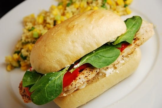 chicken roasted red pepper and goat cheese sandwich