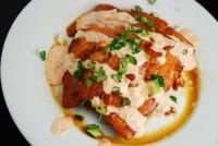chili glazed salmon with siracha cream sauce