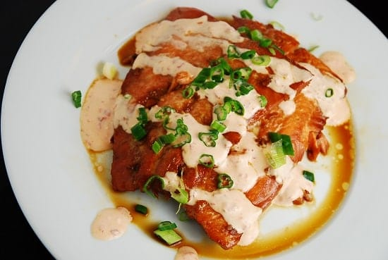 Chili Glazed Salmon with Siracha Cream Sauce