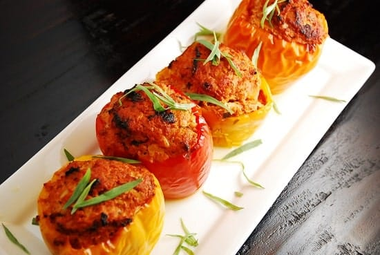 Ground Turkey and Tarragon Stuffed Peppers