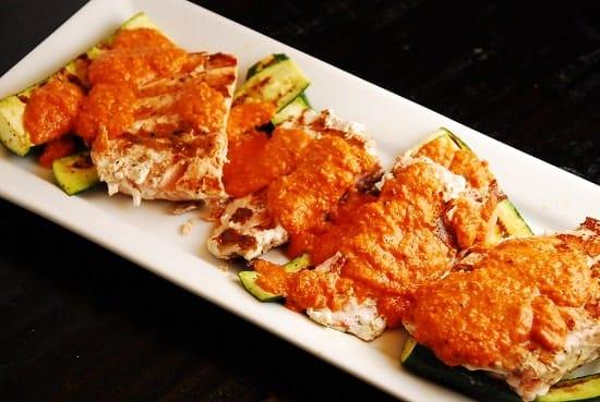 salmon with spanish romesco sauce