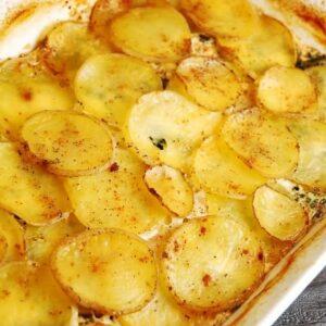 spinach feta potato au gratin