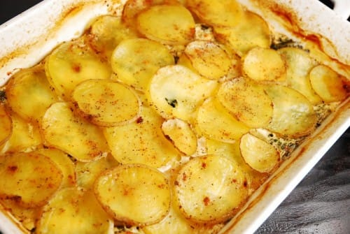 Spinach, Feta and Potato Au Gratin