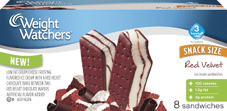 Weight Watchers Snack Size Red Velvet Ice Cream Sandwiches