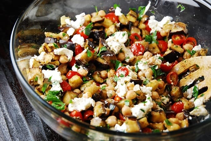roasted eggplant salad with goat cheese