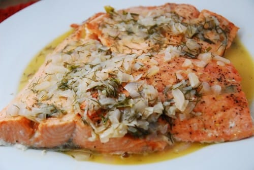 Broiled Salmon in Wine Dijon Sauce