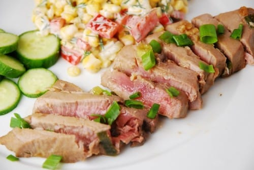 flavored and deliciously light, these low calorie seared Ahi tuna ...