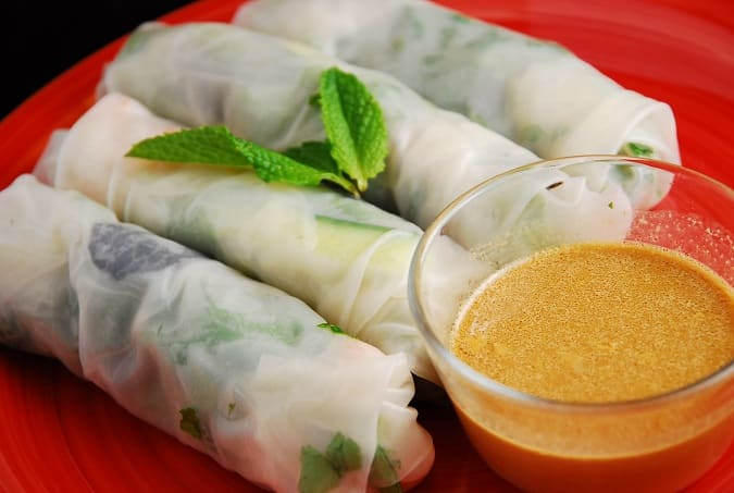 savory dipping sauce vegetable spring rolls with peanut dipping sauce ...