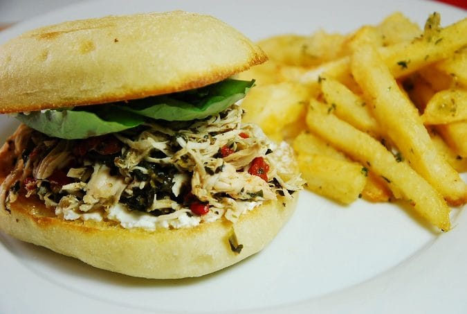 Slow Cooker Italian Pulled Chicken Sandwiches