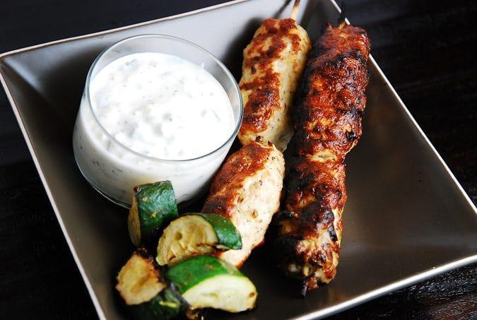 Grilled Middle Eastern Turkey Kebabs with Cucumber Yogurt Dip