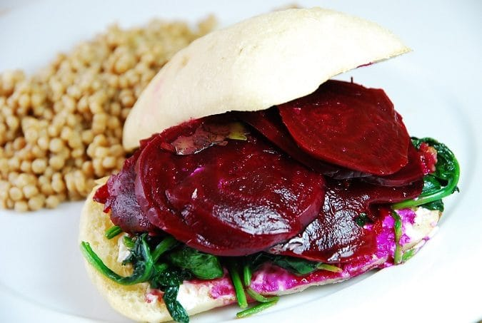 Pickled Beet, Spinach, and Goat Cheese Sandwich