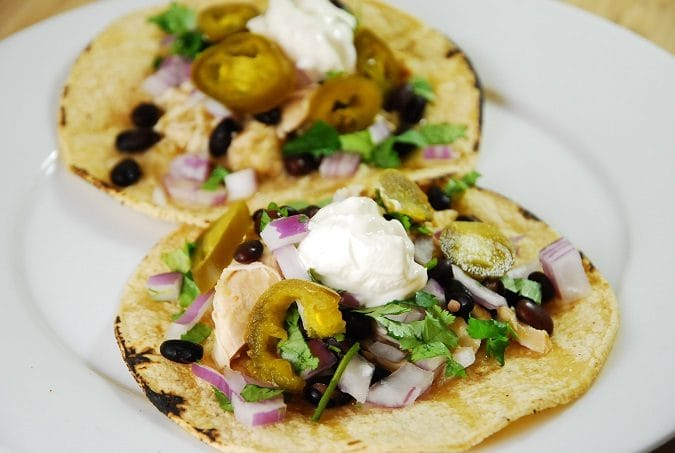 Crock Pot Chicken Verde Tacos