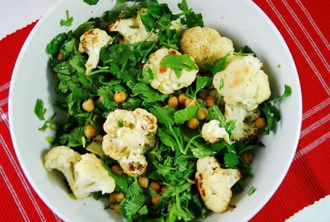 roasted cauliflower and chickpea herb salad