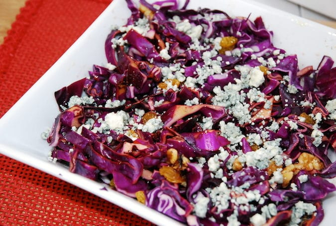 Red Cabbage Salad with Walnuts and Raisins