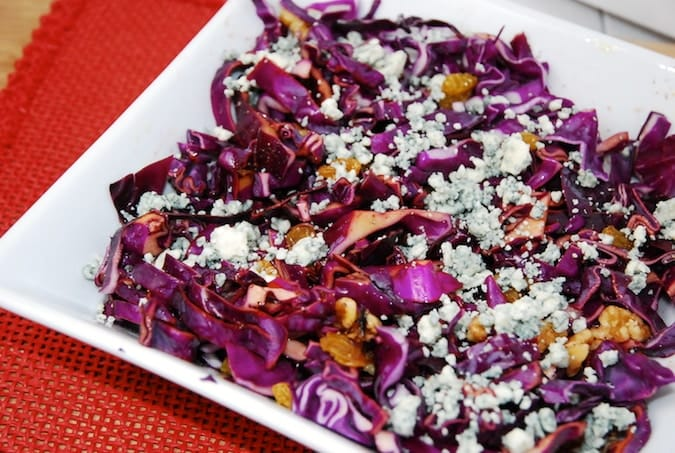 cabbage salad with walnuts and raisins