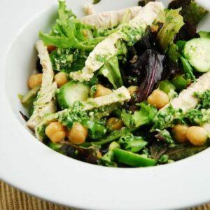 chicken and garbanzo bean pesto salad