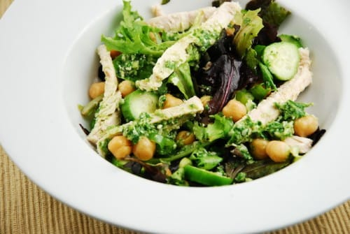 Chicken and Garbanzo Beans Pesto Salad