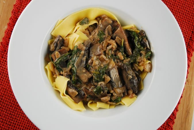 Portobello and Spinach Stroganoff