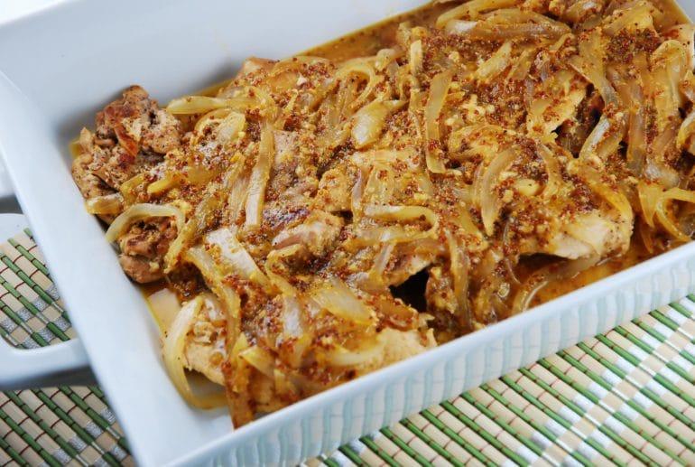 Onion honey0 dijon chicken
