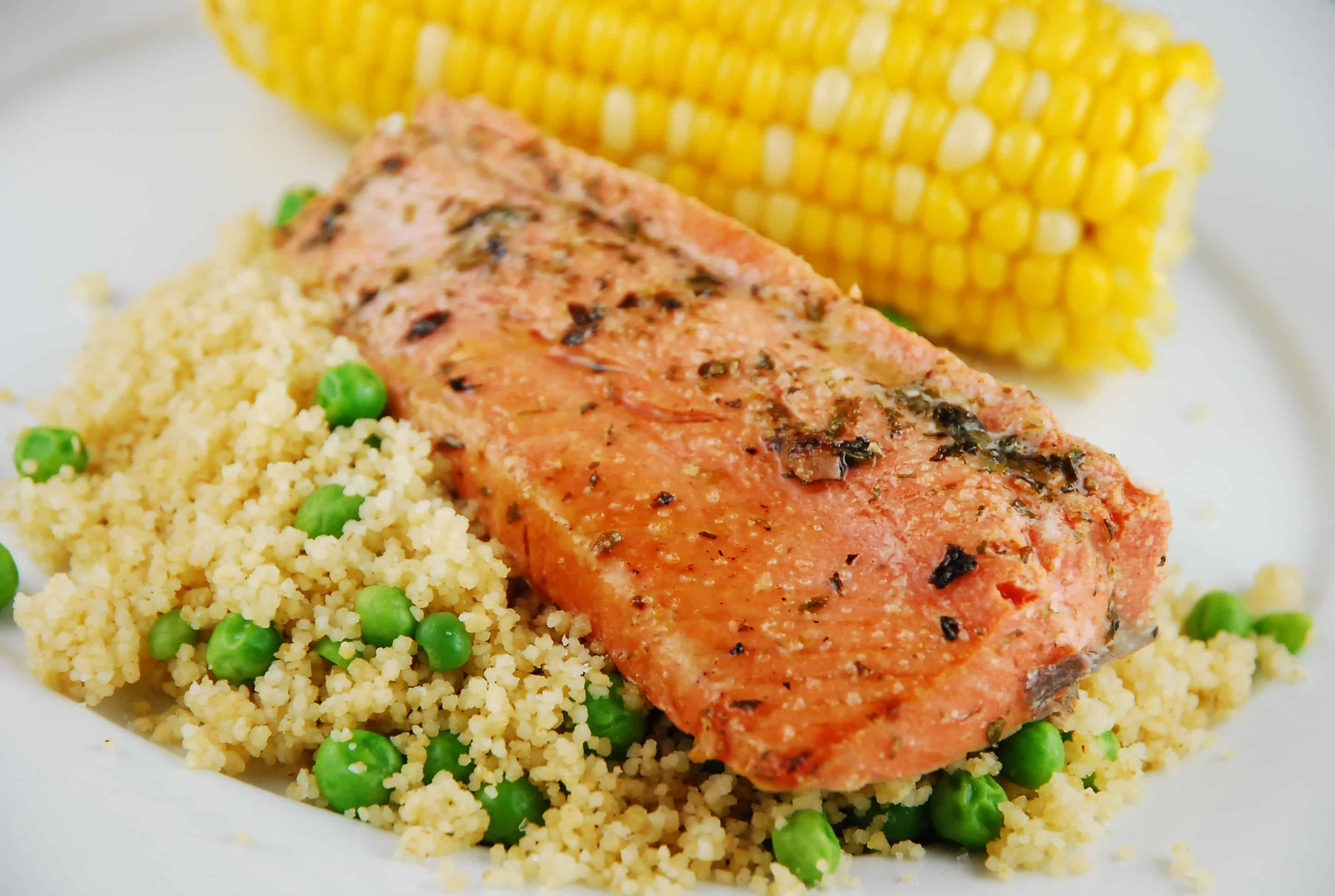 Italian marinated salmon with couscous recipe 8 points for Couscous food recipe