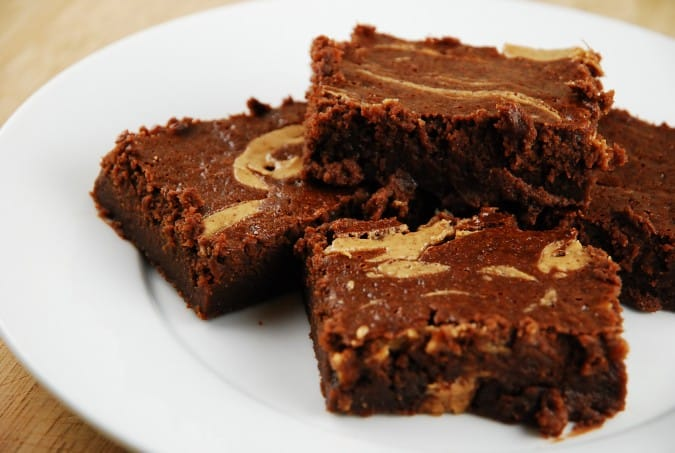 Light Chocolate Fudge Brownies with Vanilla Almond Butter Swirl