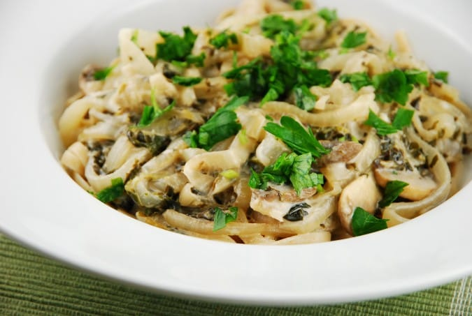 Spinach, Mushroom, and Caramelized Onion Pasta