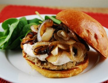quinoa burger with caramelized onions 1