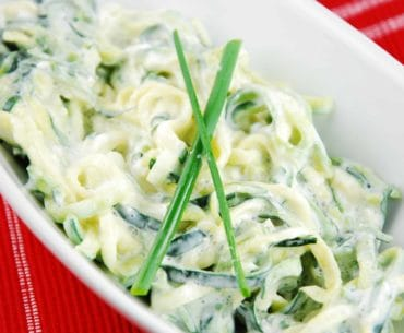 zucchini noodles with creamy lemon chive sauce
