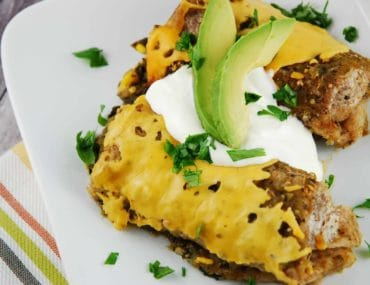 slow cooker black bean and spinach enchiladas