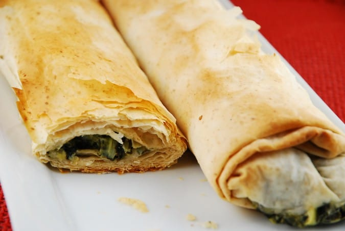 Spinach and Artichoke Phyllo Log