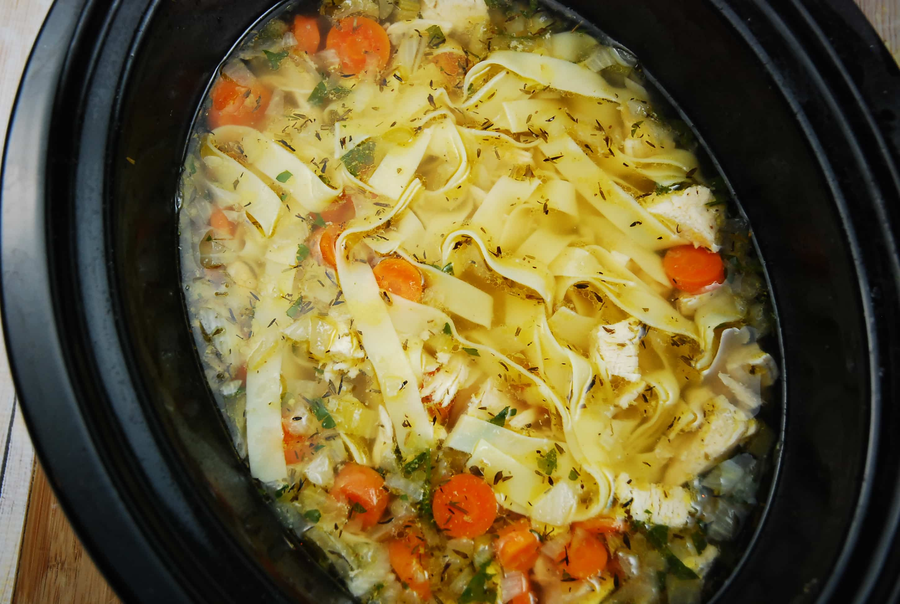 Crock pot chicken noodle soup recipe 4 points laaloosh for Best healthy chicken crock pot recipes