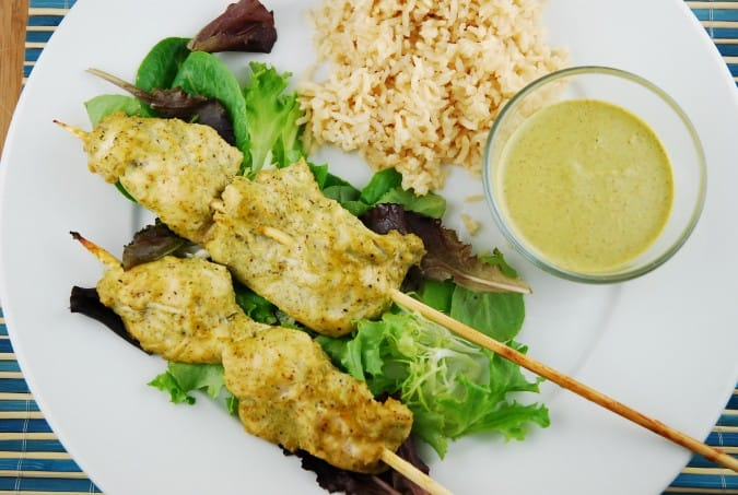 Honey Roasted Chicken Satay with Basil Almond Sauce